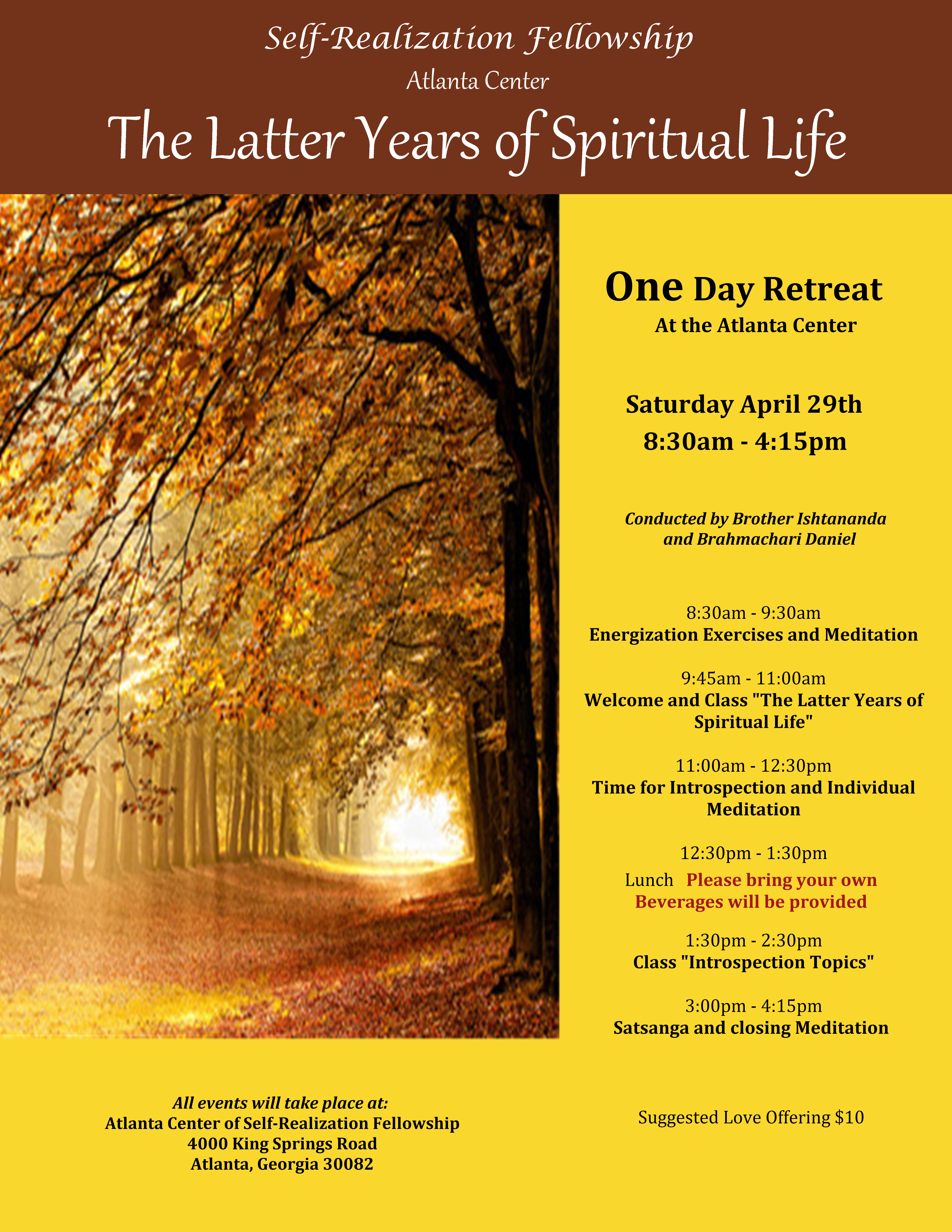 April 2017 One Day Retreat
